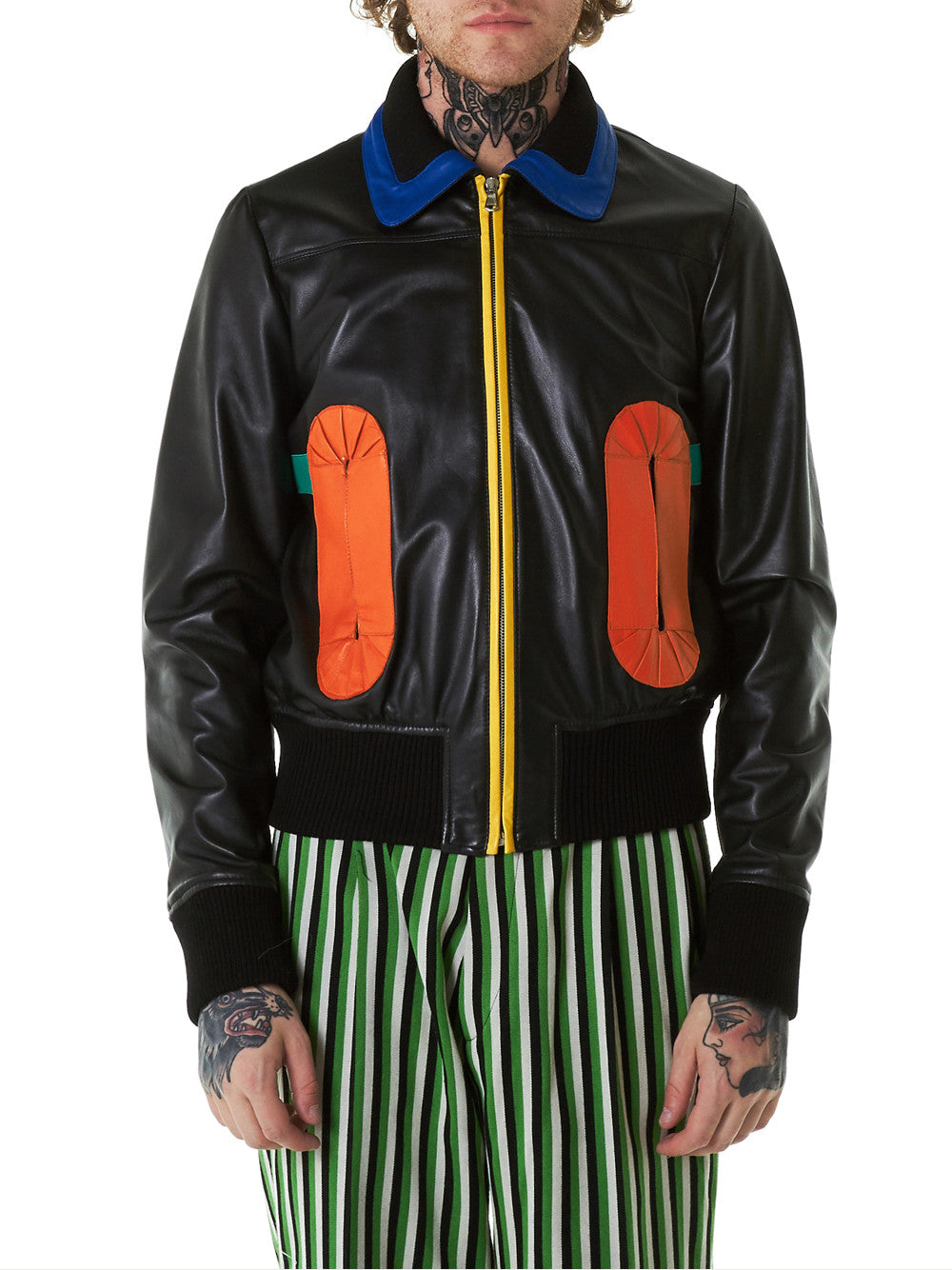 'Masked Cockade' Leather Bomber (5004-BOOH-COMB-II-BLACK - H. Lorenzo