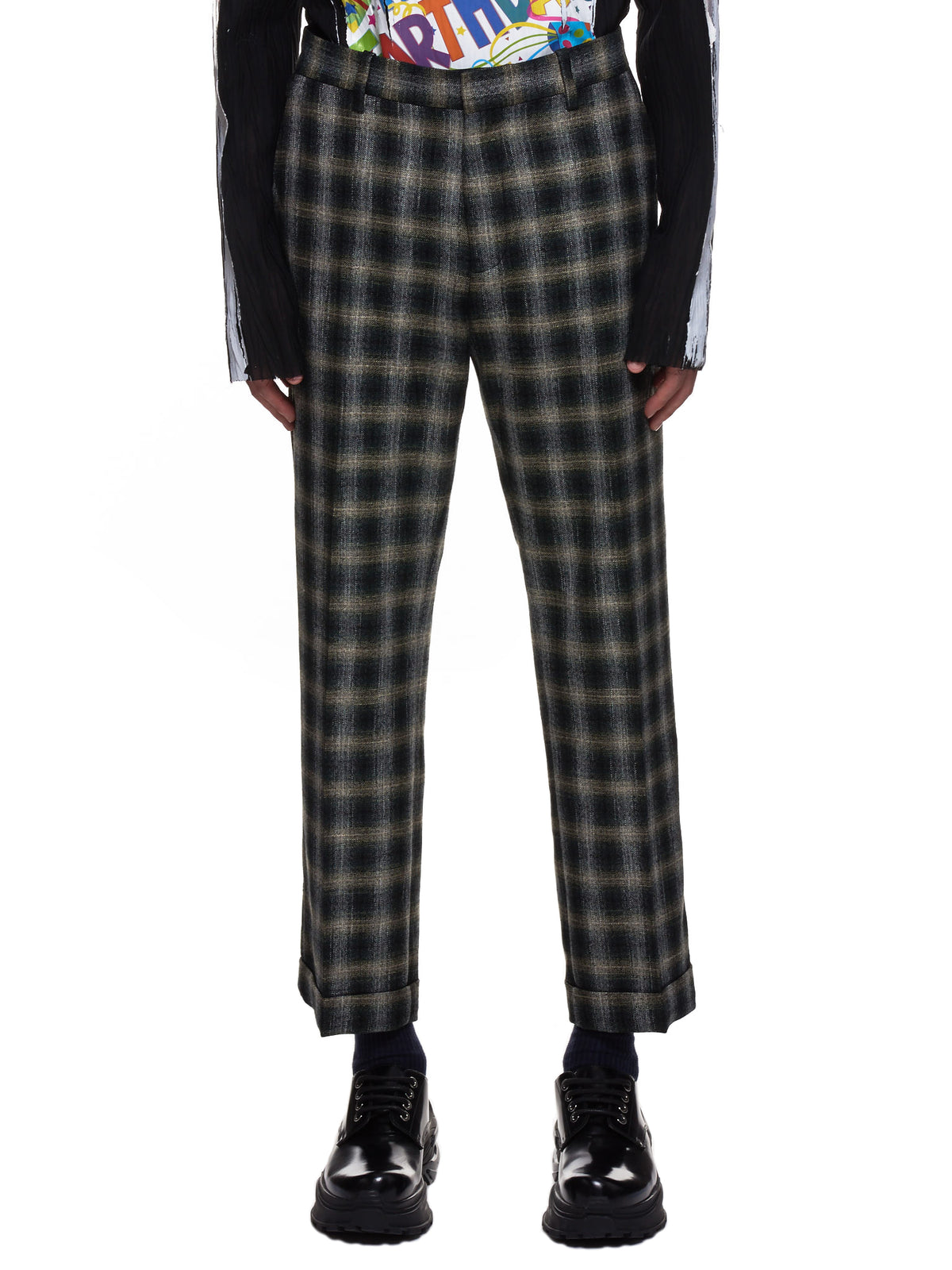 Flannel Plaid Trousers (5008-W035-BLACK)