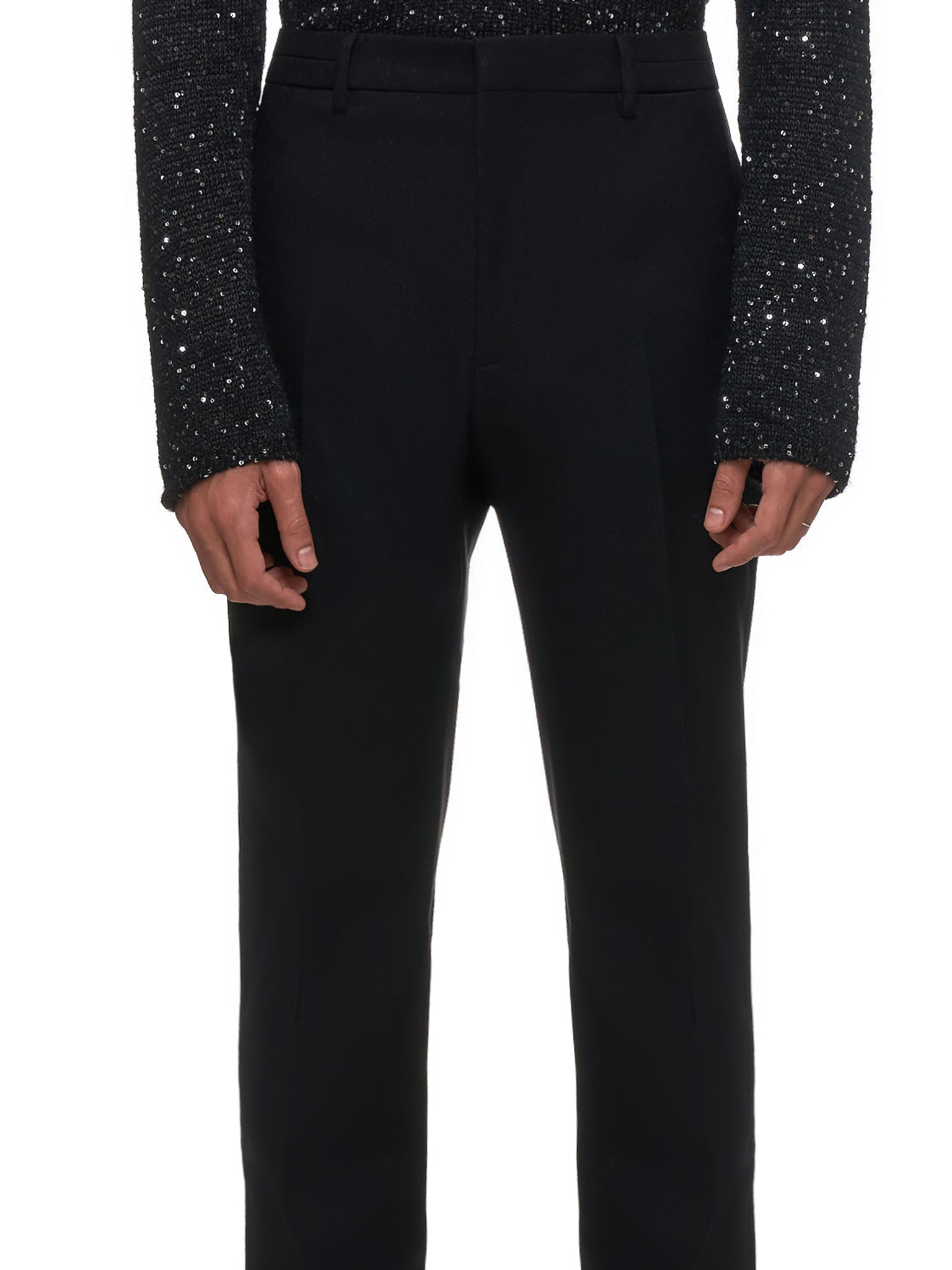 Light Felt Wool Trousers (564862VA8P1-BLACK)
