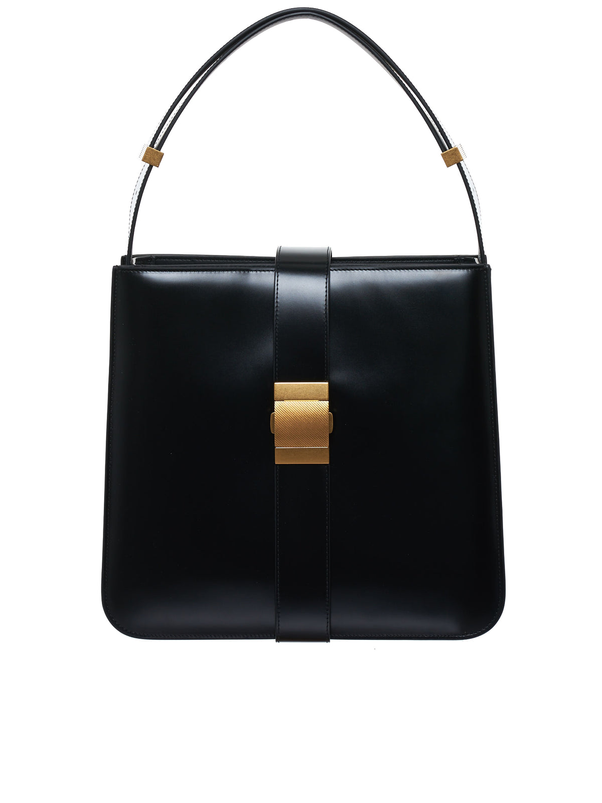 Buckle Leather Tote (578344VCPI1-8425-BLACK-GOLD)
