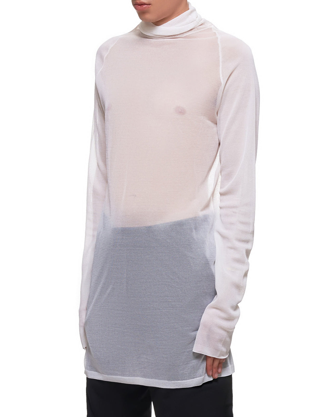 Transparent Silk Pullover (579881VKAH0-IVORY)