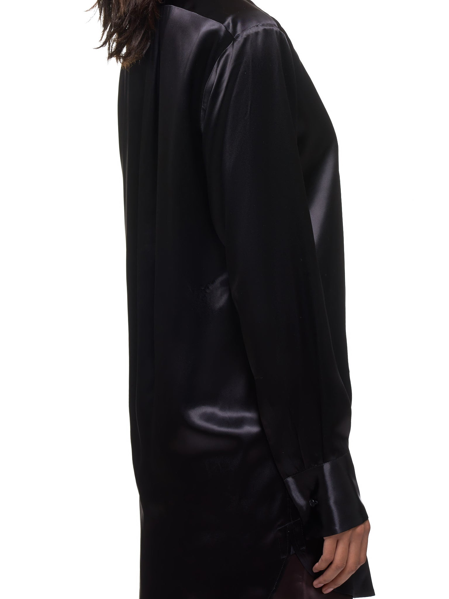 Lacquered Satin Shirt (589202VKFN0-1000-BLACK)
