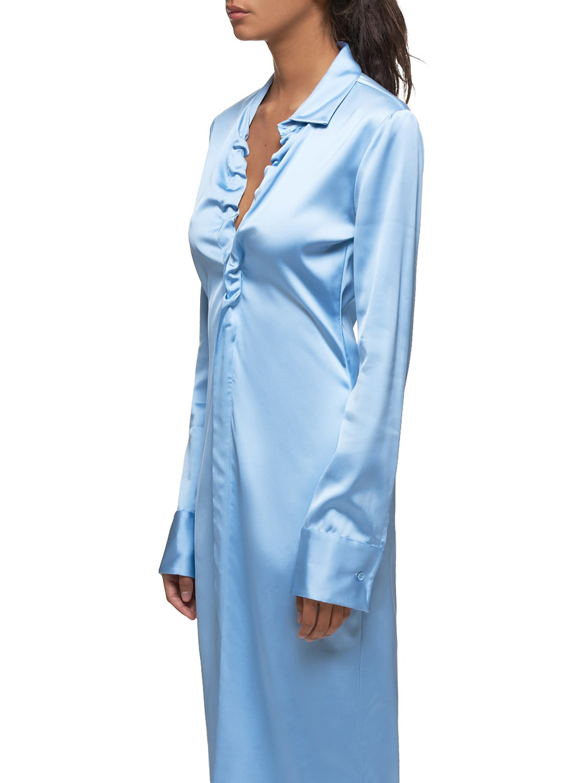 Lacquered Satin Dress (591269VA6Q0-1714-LIGHT-BLUE)