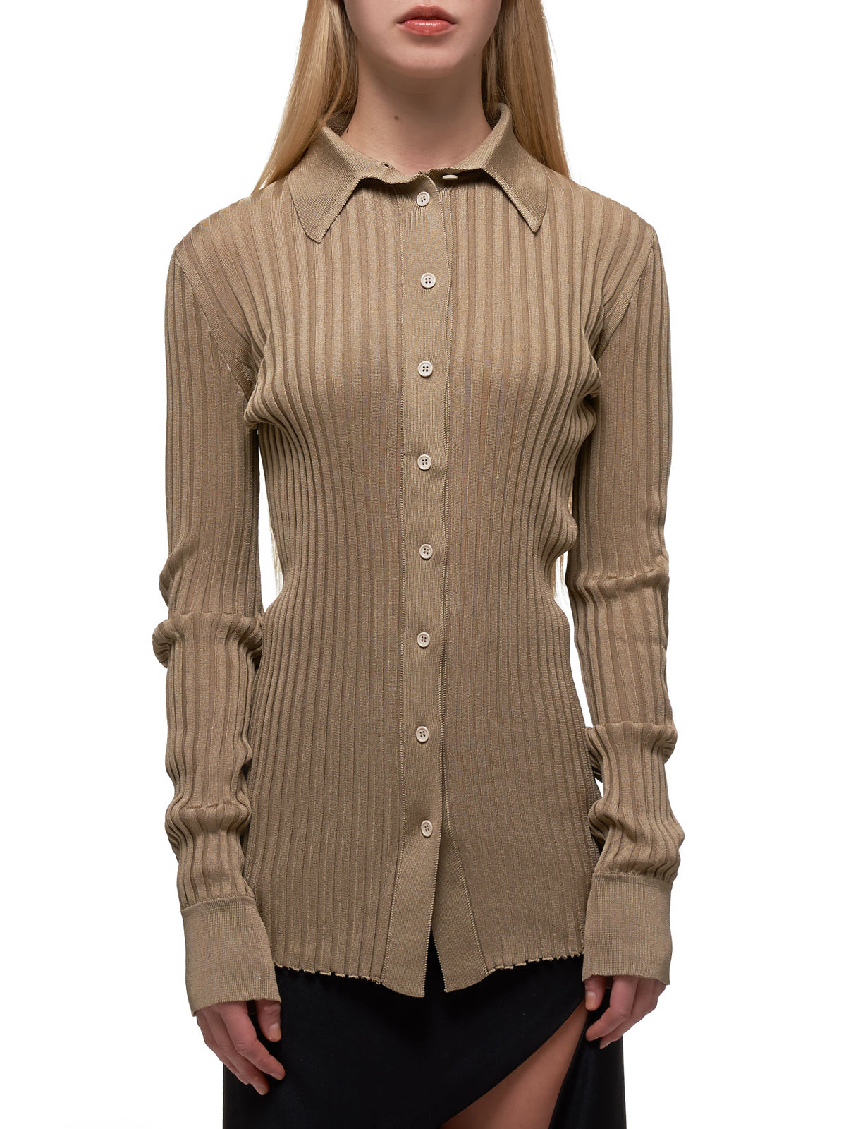 Ribbed Silk Shirt (601693VKJM0-9487-IVORY)