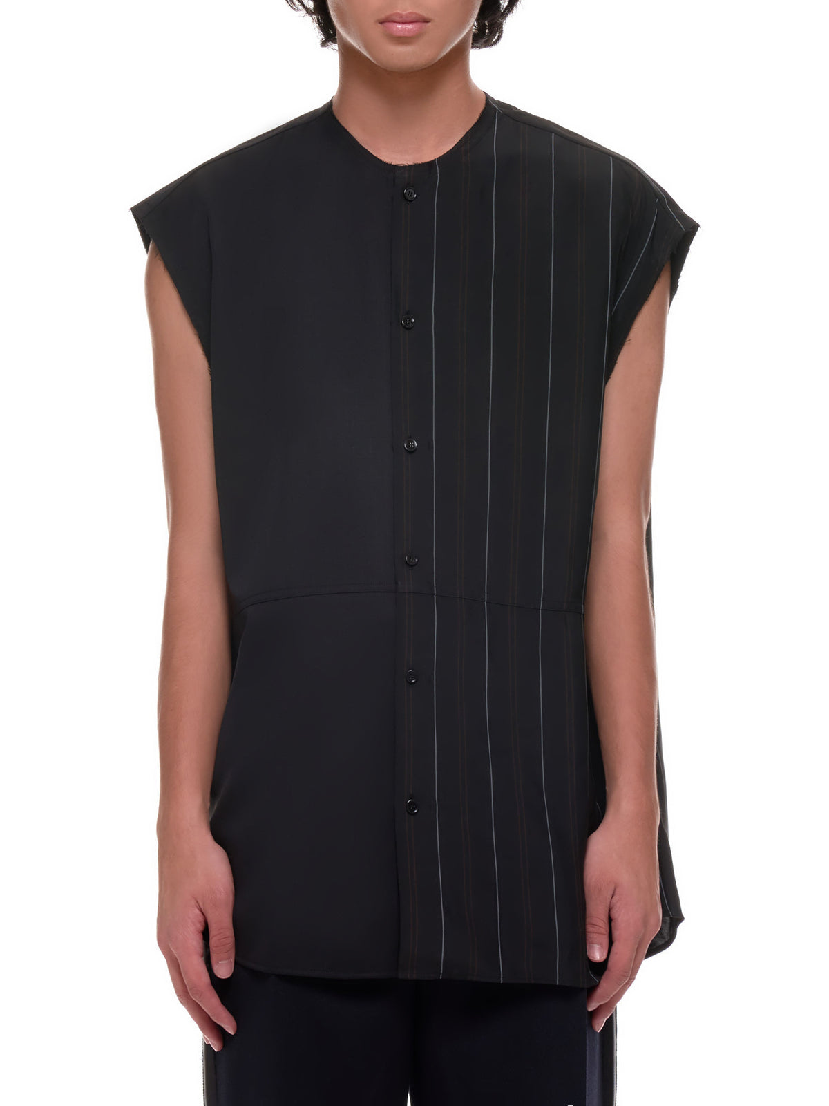Striped Sleeveless Button-Up (602531-BLACK)