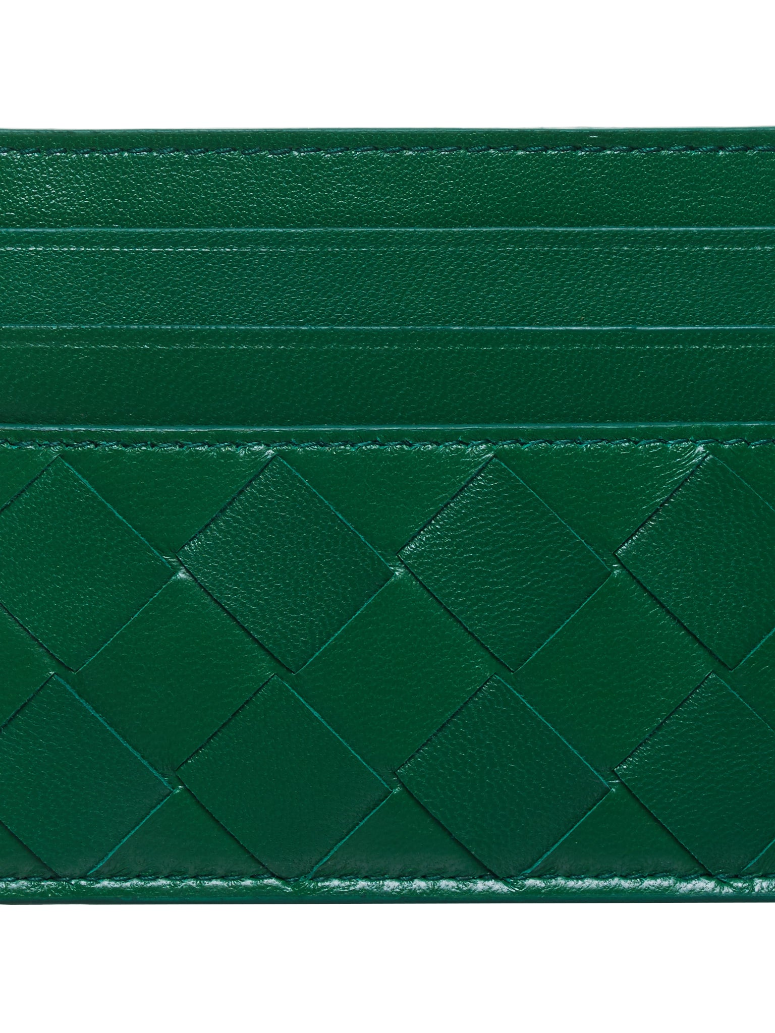 Intrecciato Nappa Card Case (608078VCPP3-3186-GREEN-GOLD)