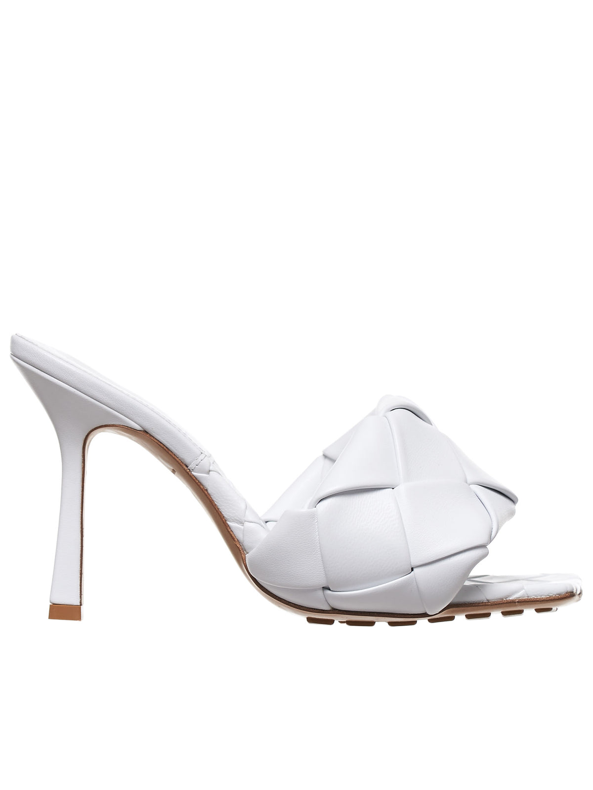 Maxi Intrecciato Sandal Heel (608854VBSS0-9122-OPTIC-WHITE)