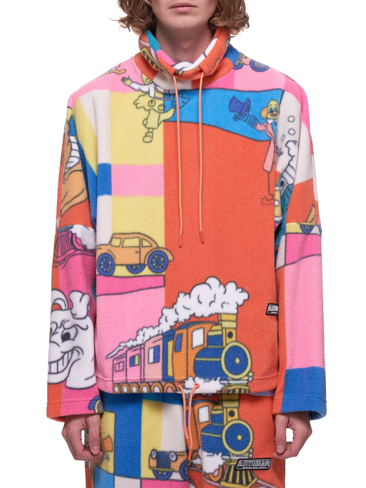Cartoon Fleece Pullover (626-PINK-TOON)