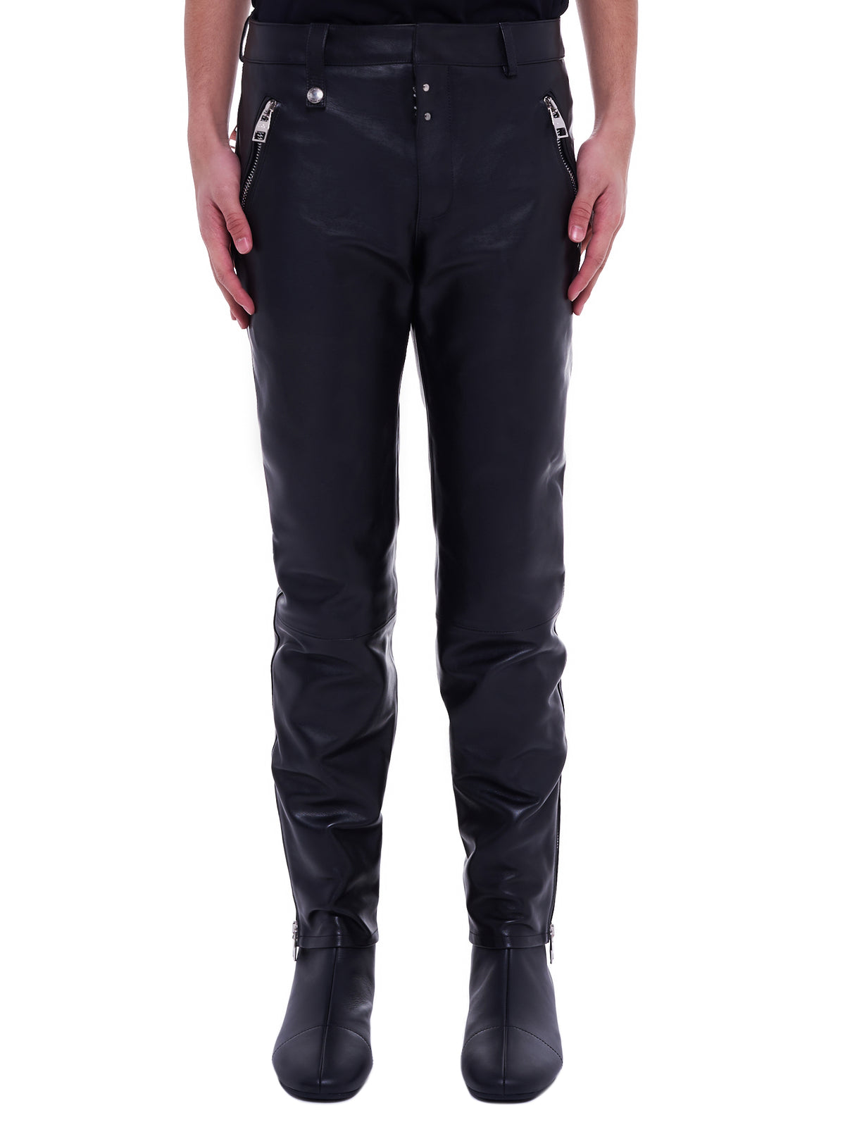 Leather Straight-Leg Trousers (626388-Q5LEC-1000-BLACK)