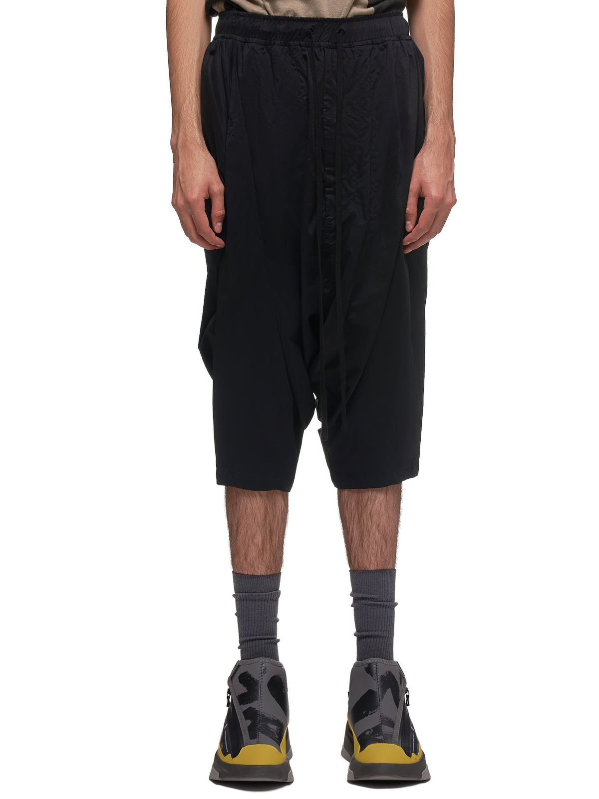 Draped Drop Crotch Shorts (697PAM6-BLACK)