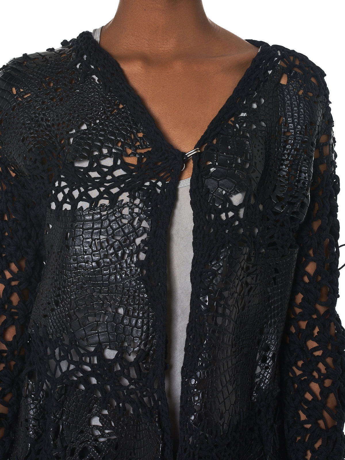 Alessandra Marchi Alligator Leather Cardigan - Hlorenzo Detail 2