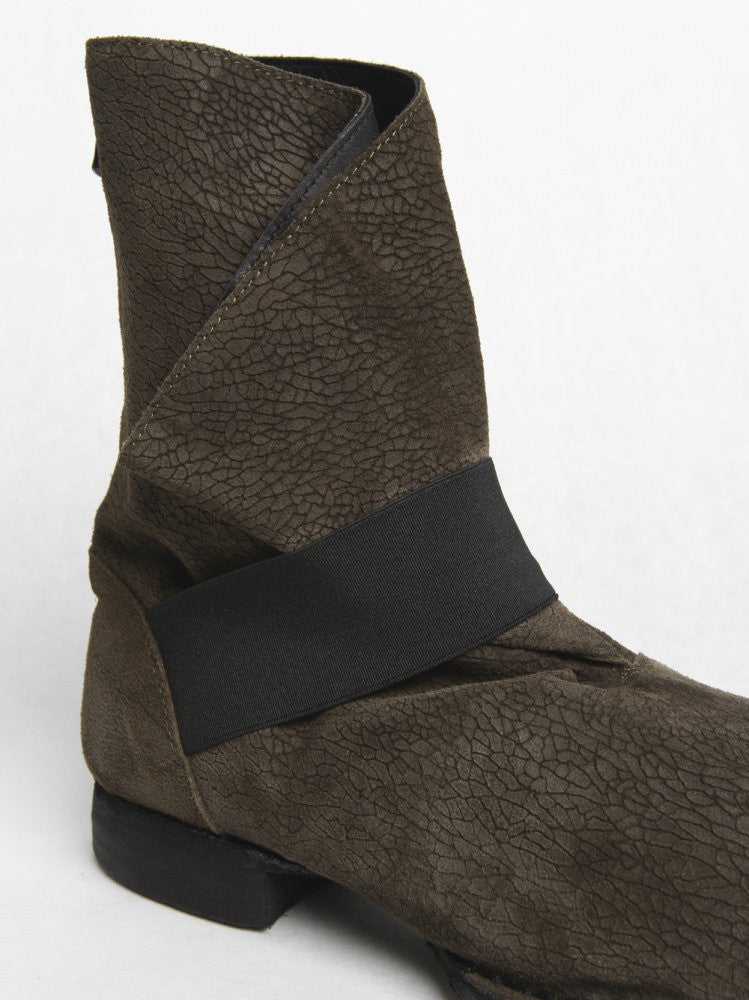 Folded Back-Zip Leather Boot (BN XXX GREEN) - H. Lorenzo