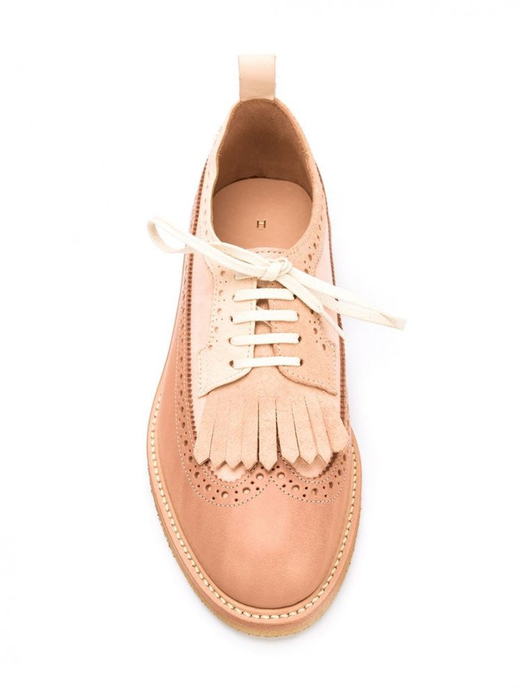 Fringed Natural Leather Brogue (DE-S-GUL NATURAL) - H. Lorenzo