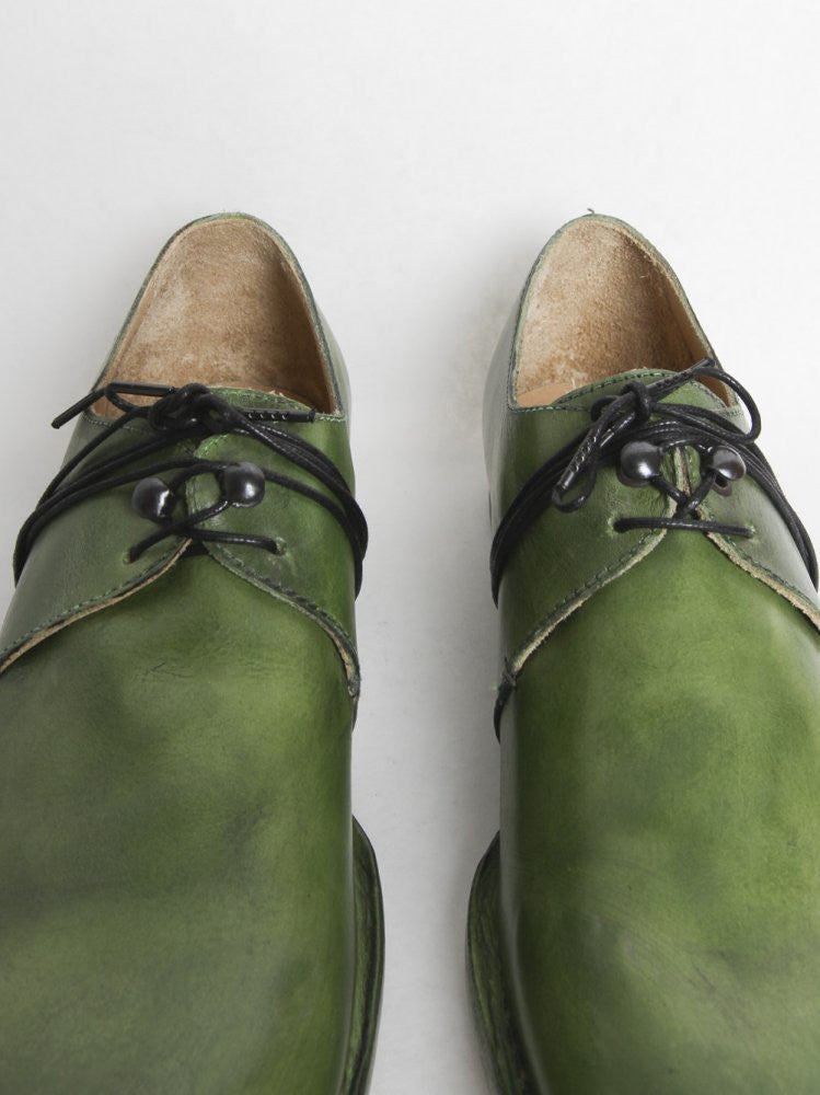 Object-Dyed Leather Derby (BN XX GREEN) - H. Lorenzo