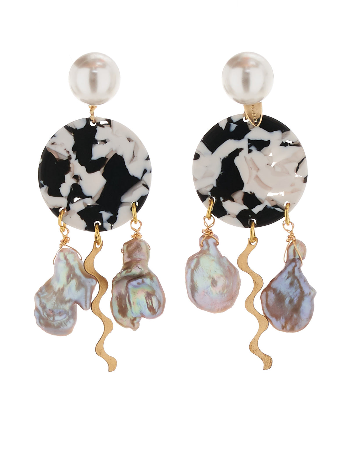 Plala Earrings (823-GB023-007-GOLD-BLACK)