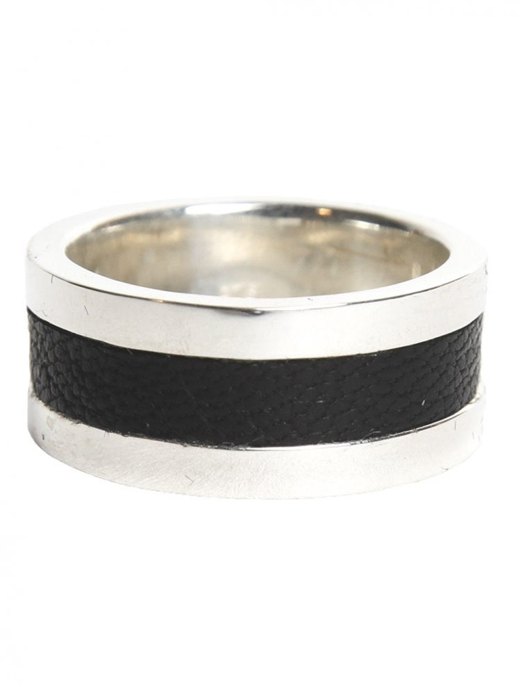Leather Inset Ring (LEATHER IN RING SILVER/BLACK) - H. Lorenzo