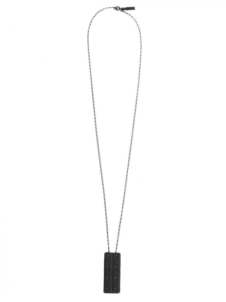 Leather Wrapped Steel Bar Necklace (H STEEL BLACK) - H. Lorenzo