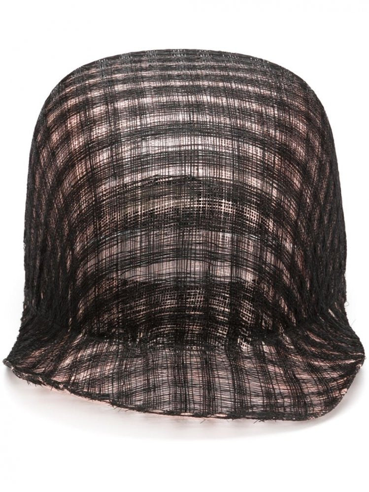 Straw Effect Cap (AT SISAL STRAW CHECKPINK/BLACK) - H. Lorenzo