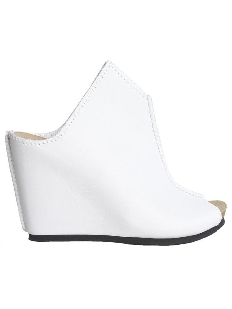 Leather Open-Toe Wedge (SS16-TAIL-BLANK-WHITE)