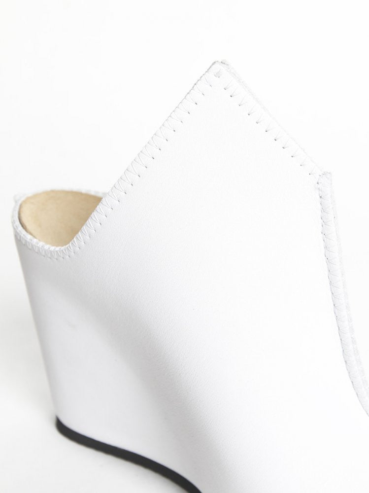 Leather Open-Toe Wedge (SS16-TAIL-BLANK-WHITE) - H. Lorenzo
