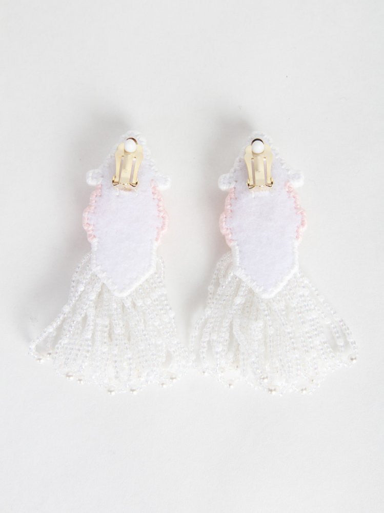 Clip On Earrings (JFSS16A01 WHITE) - H. Lorenzo