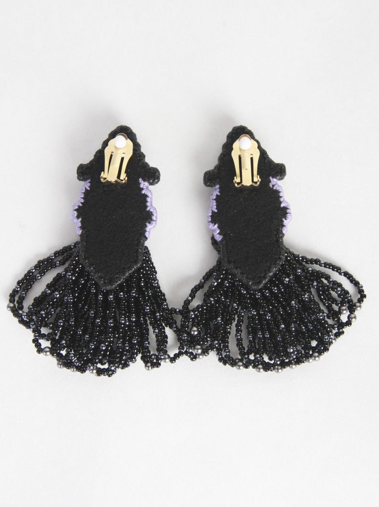 Clip On Earrings (JFSS16A01 BLACK) - H. Lorenzo