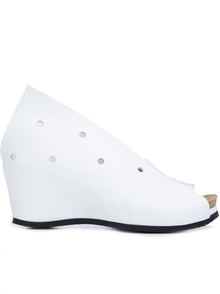 Perforated Wedge Sandal (SS16-LOWER-OSMOSIS WHITE)
