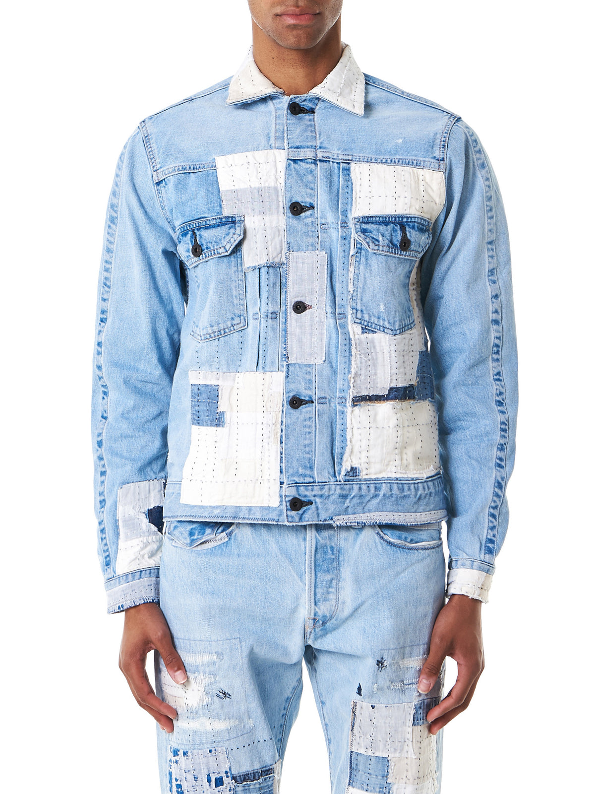 Patchwork Denim Jacket (961796-INDIGO) - H. Lorenzo
