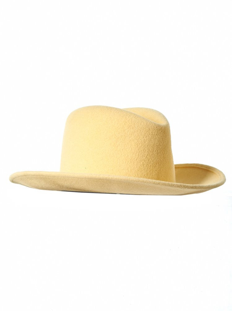 Yellow Felt Homburg Hat - H. Lorenzo