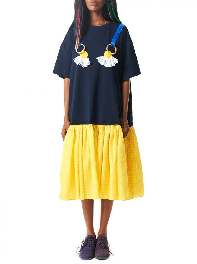Embelished Tee Shirt Dress (MOFSS161101 NAVY/YELLOW) - H. Lorenzo