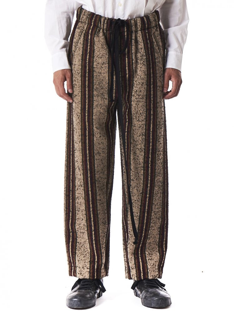 Striped Drawstring Trousers (UM3513 TAN/GREEN/RED) - H. Lorenzo