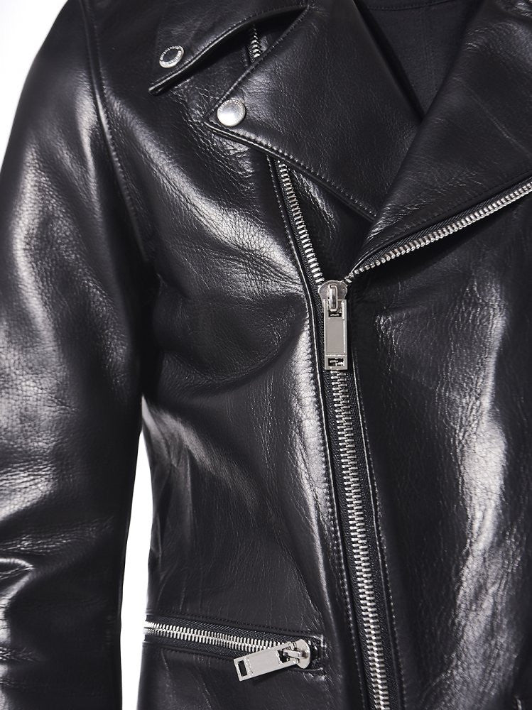 Leather Biker Jacket (DC16W-1101 BLACK) - H. Lorenzo