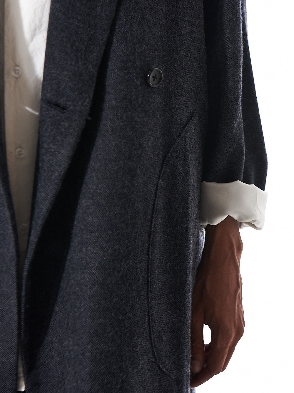 Double-Breasted Drop Shoulder Coat (SE-C01-150 GREY) - H. Lorenzo