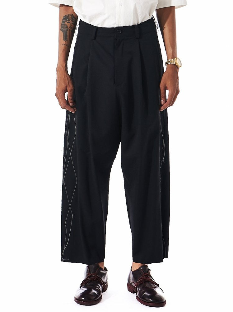 Top-Stitch Relaxed Trousers (SE-P05-100 BLACK) - H. Lorenzo