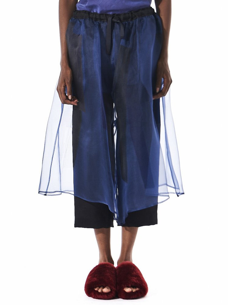 Hand Painted Silk Organza Cropped Pant (P6CP8 BLUE) - H. Lorenzo
