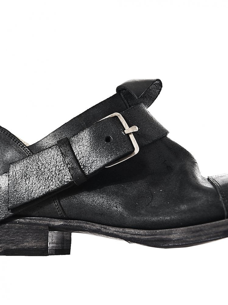 Leather Low-Top Buckled Shoe (S1C11 VA.R 1.5 BLACK) - H. Lorenzo