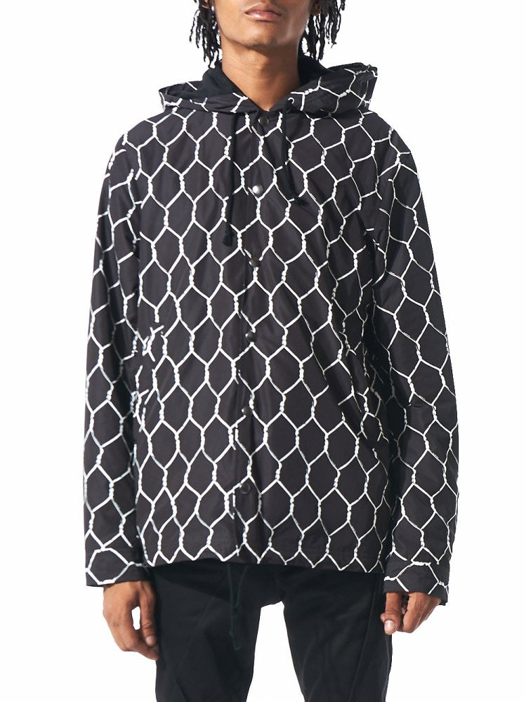 Chain-Link Pattern Hooded Rain Coat (UCR4202 BLACK BASE) - H. Lorenzo