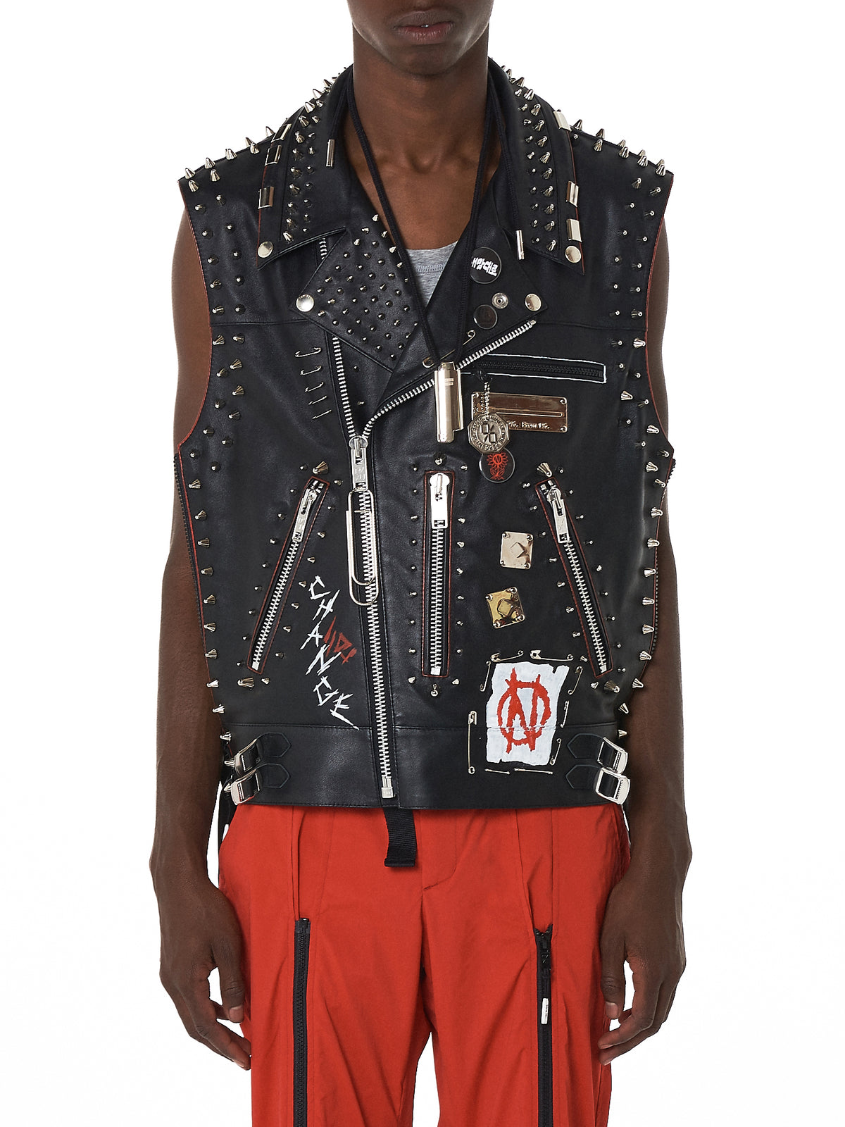 99%IS Studded Biker Vest - Hlorenzo Front