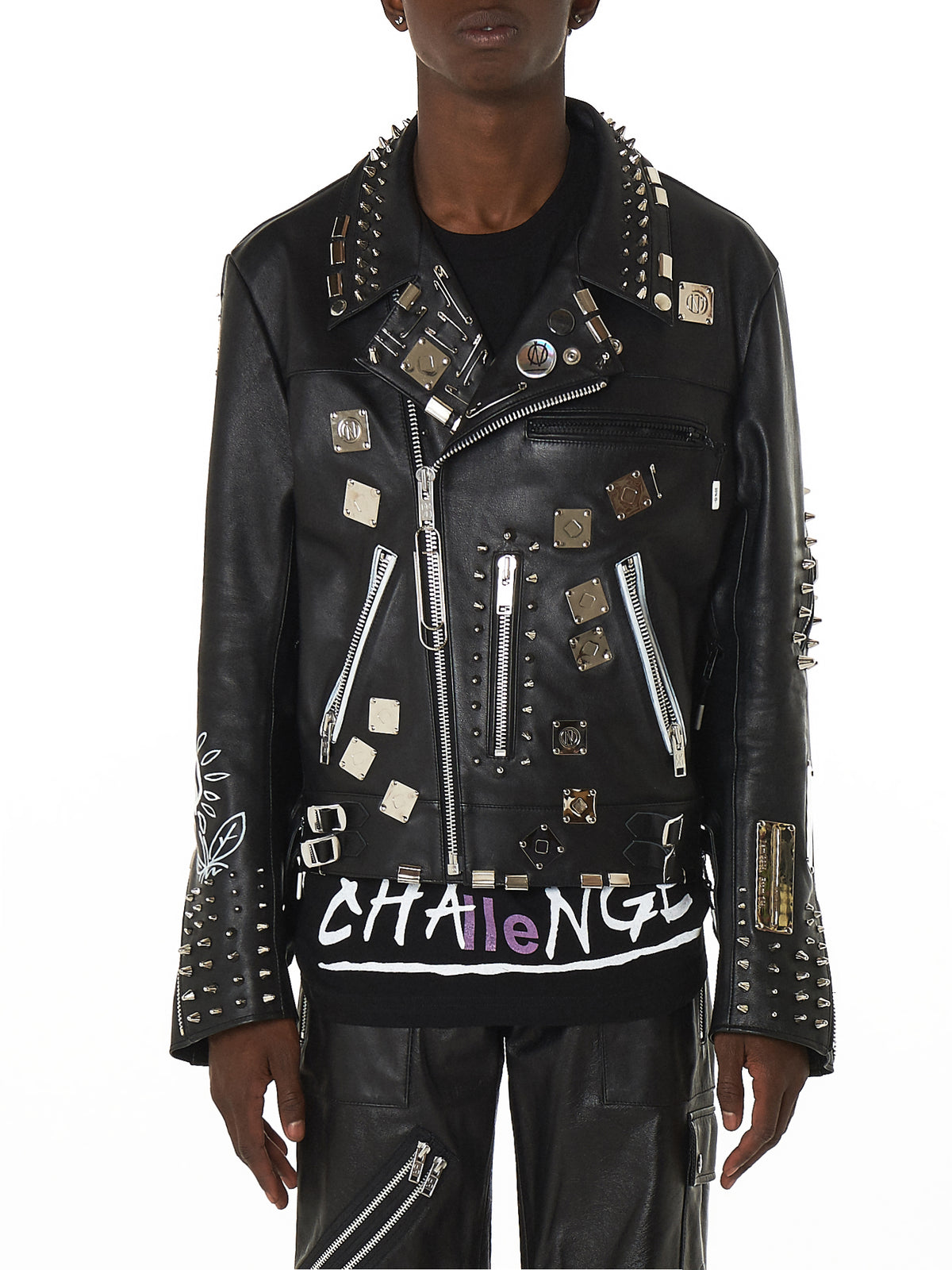 99%IS Studded Leather Biker Jacket - Hlorenzo Front