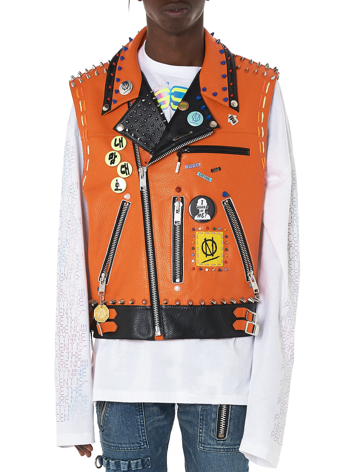 99%IS Studded Leather Vest - Hlorenzo Front