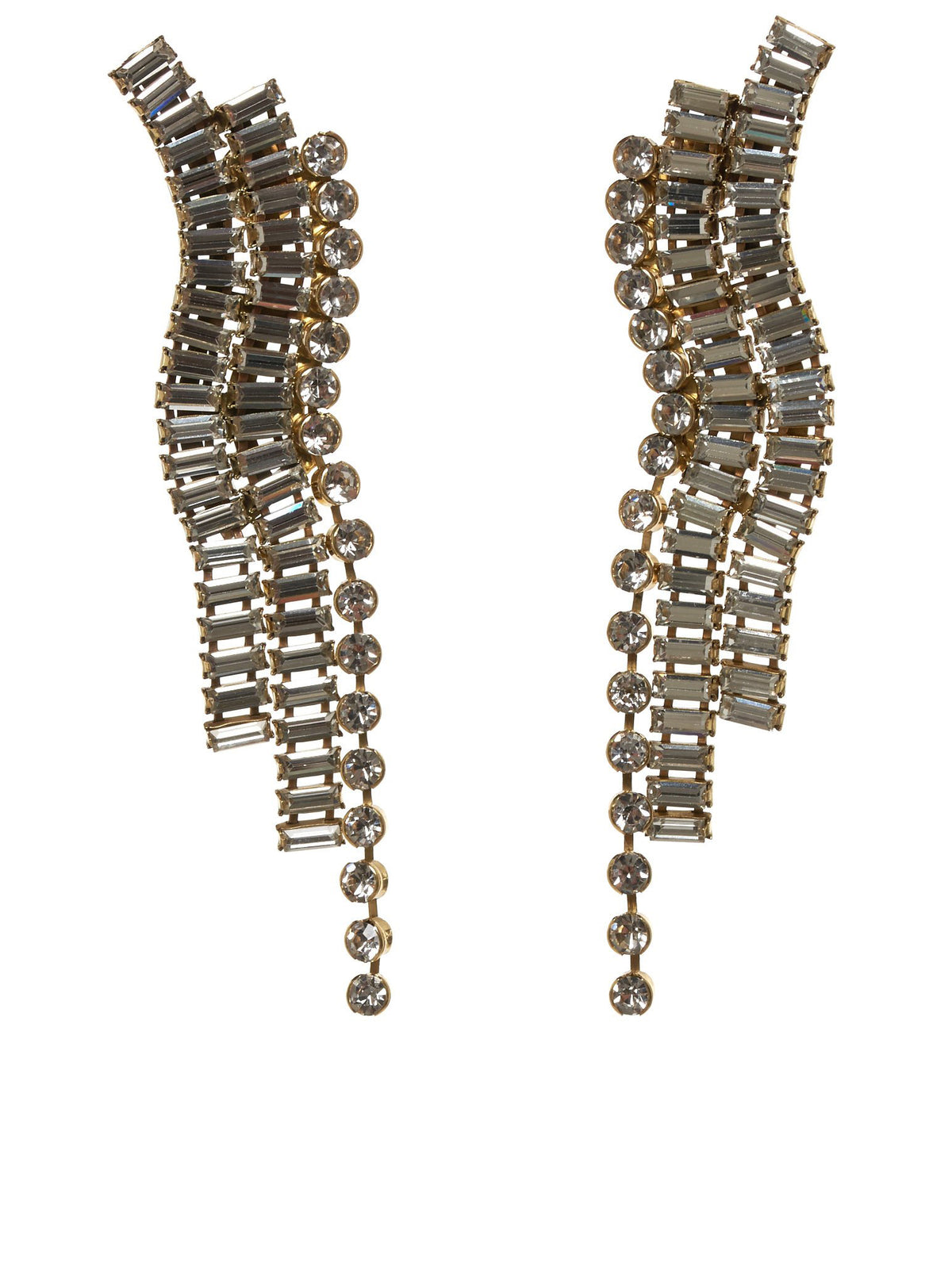 Chariot Drape Crystal Earrings (9FA223-GOLD)