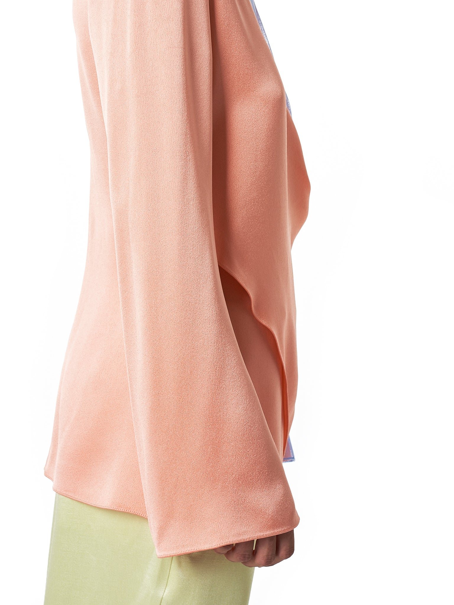 'Bari' V-neck Tulle Layered Top (9BS3032-LT-PEACH)