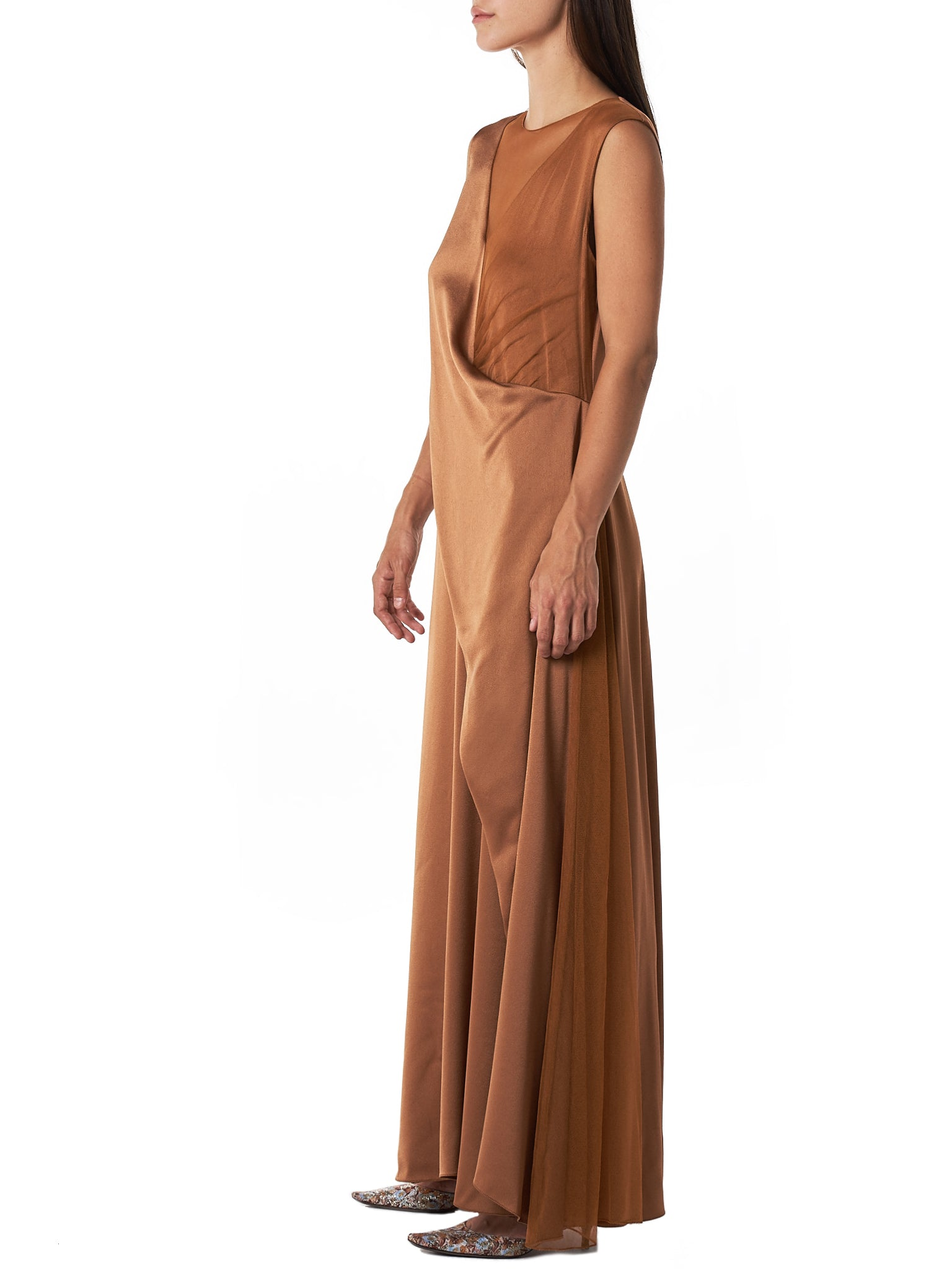 'Leona' V-neck Tulle Layered Dress (9BS5051-TOFFEE)
