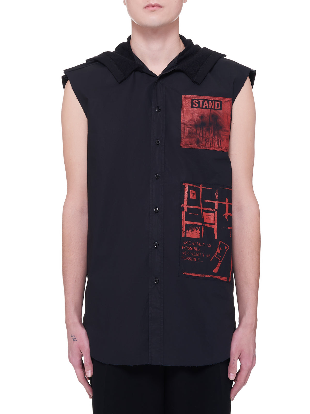 Sleeveless Hooded Shirt (A01-200-10007-BLACK)