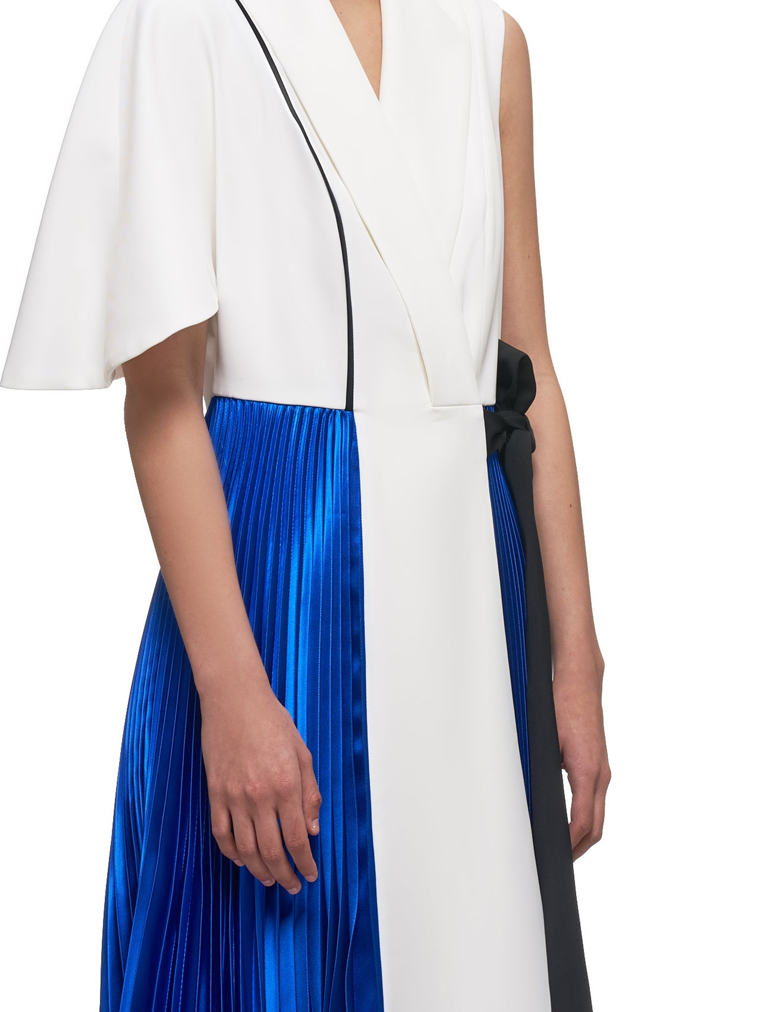 Pleated Asymmetrical Dress (A017-WHITE-BLUE)