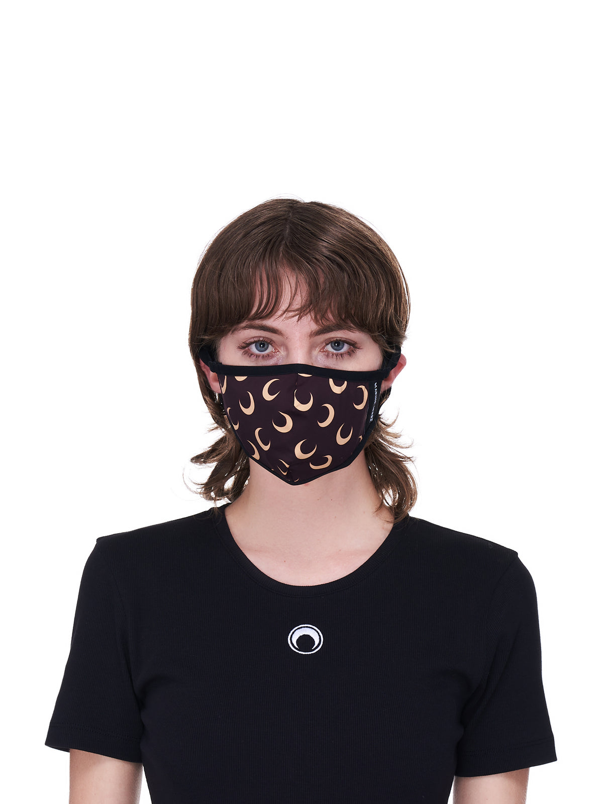 Brown & Tan Allover Moon Daily Wear Mask (A059ICONX-JERPA0001-BROWN-PRIN)