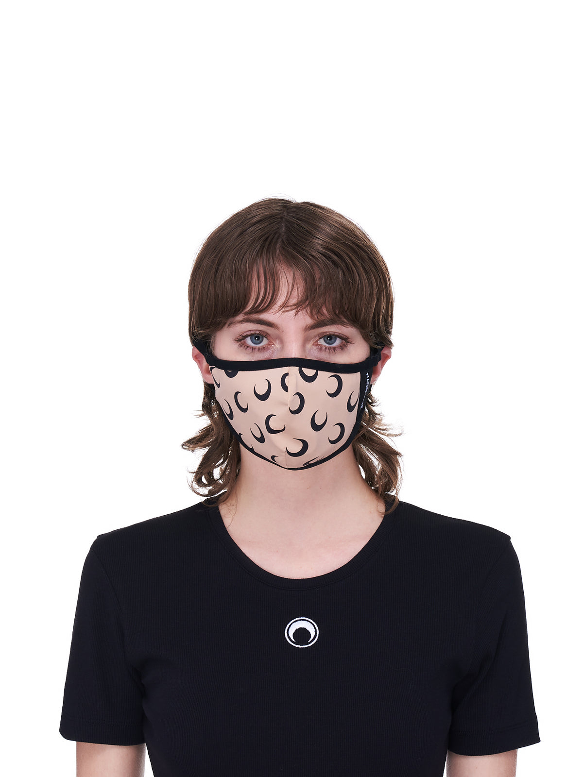 Tan & Black Allover Moon Daily Wear Mask (A059ICONX-JERPA0001-TAN-BLACK)