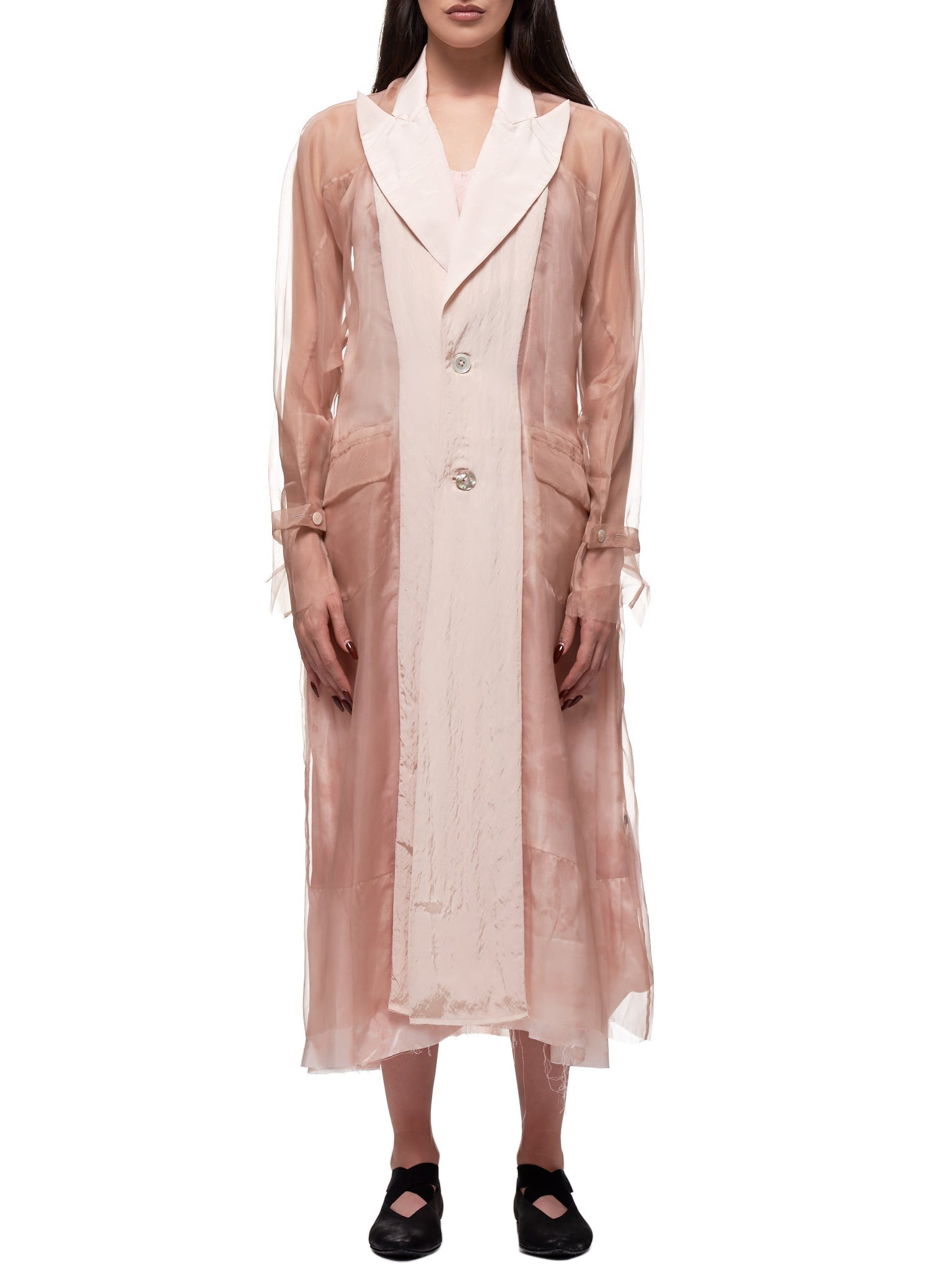 Deconstructed Tulle Kimono Coat (A2020315B-DIRTY-PINK)