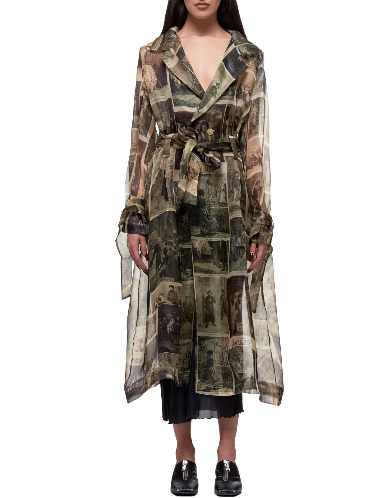 Graphic Printed Vintage Organza Flare Coat (A2020302B-OLIVE)