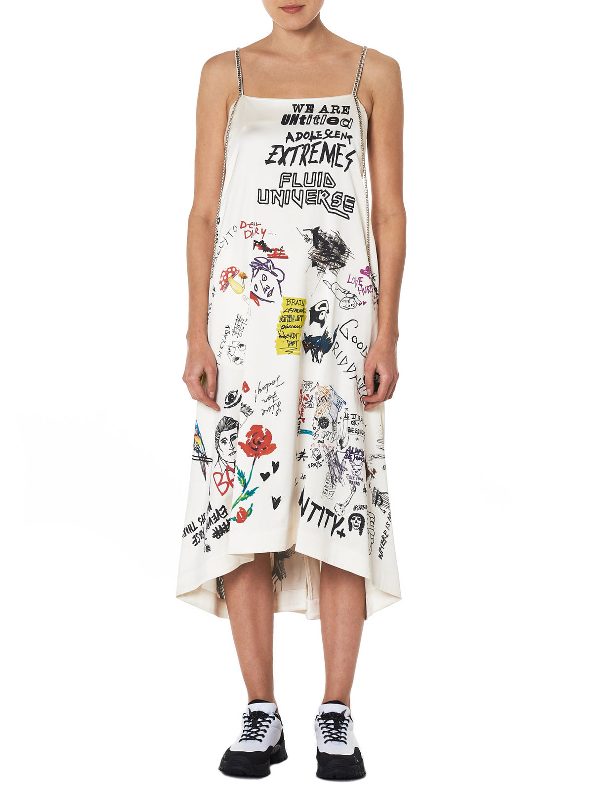 Hand-Printed Slip Dress (AMBDRS-105-WHITE)